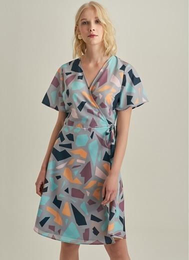 NGSTYLE Geometrik Desenli Elbise Mavi